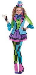 Colourful Mad Hatter Teen Girls Costume