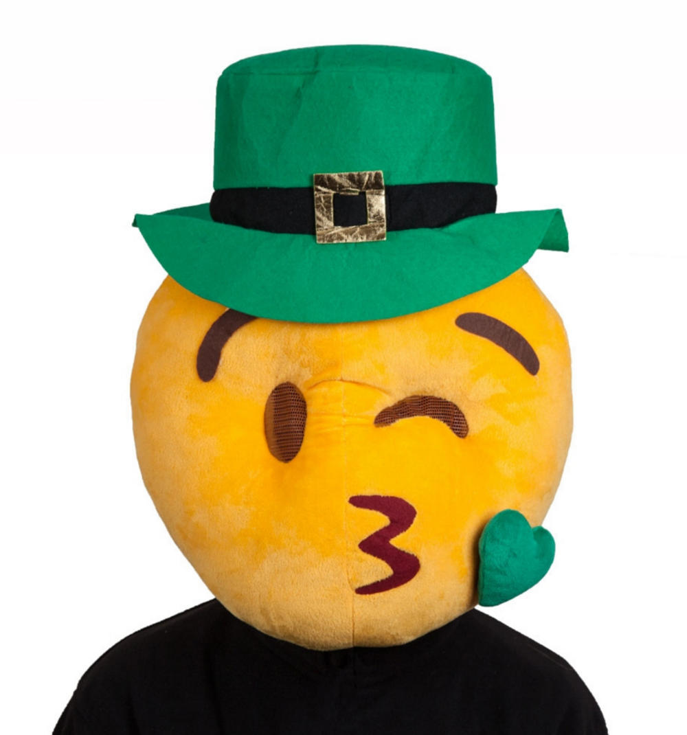 St Patricks Day Kissing Emoji Adults Face Mask