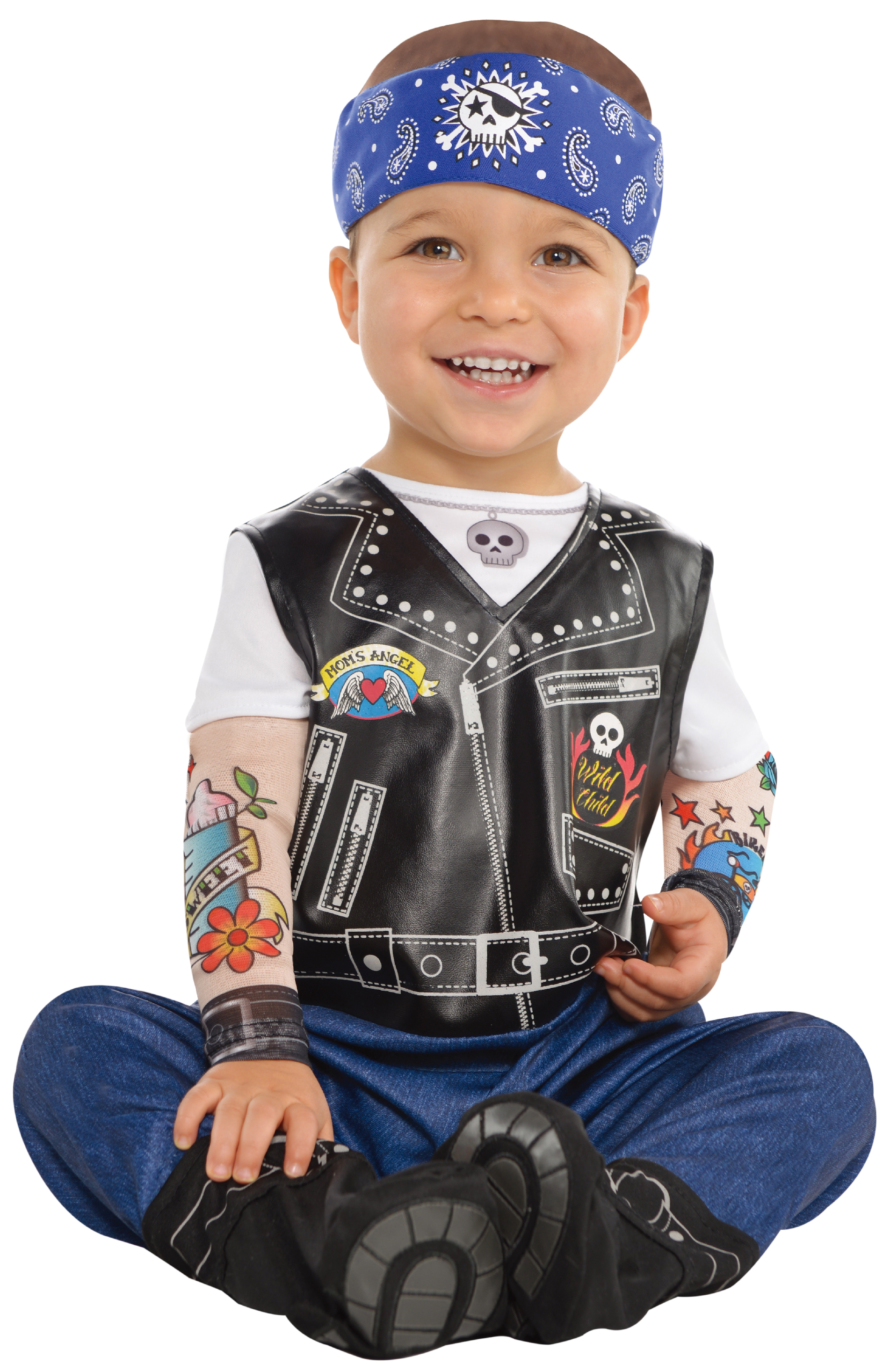 368201696c46 Baby Biker Boys Fancy Dress Gangster Gang Punk Toddler Infant ...