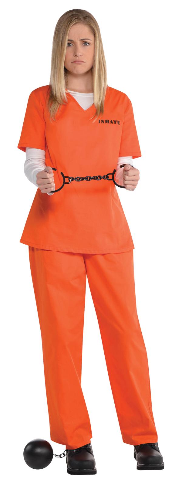 orange prisoner ladies fancy dress inmate criminal convict womens