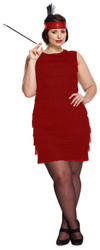 Plus Size Red Flapper Lady Costume
