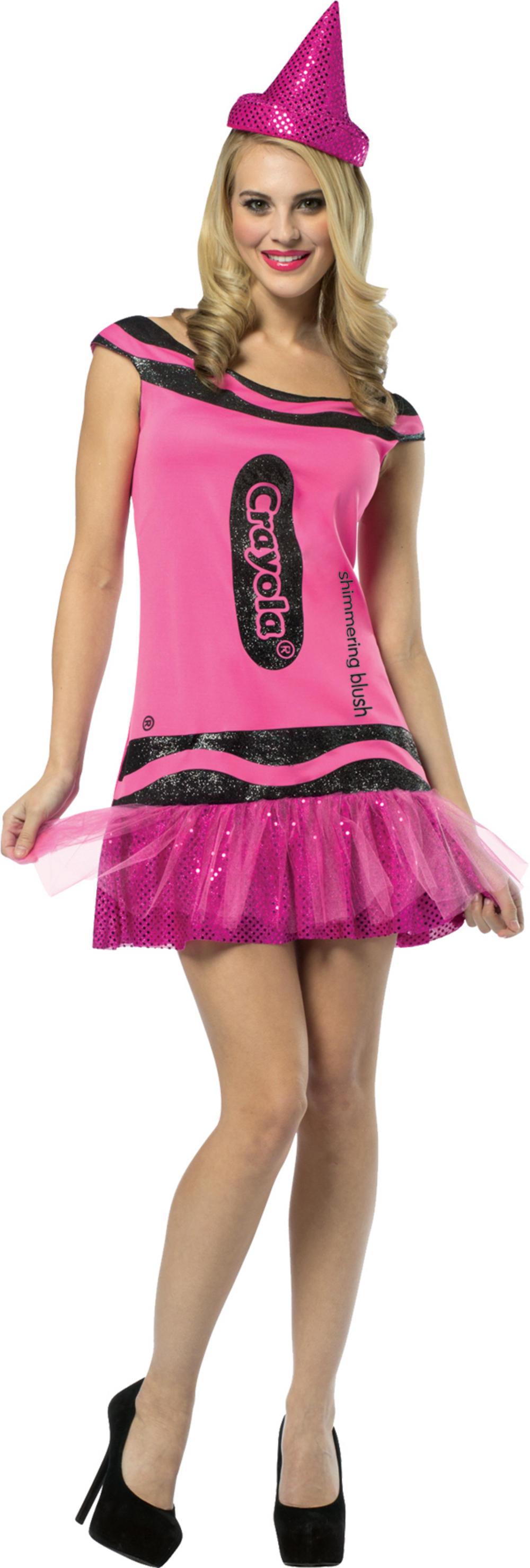 Blush Pink Crayola Glitter Dress Ladies Costume