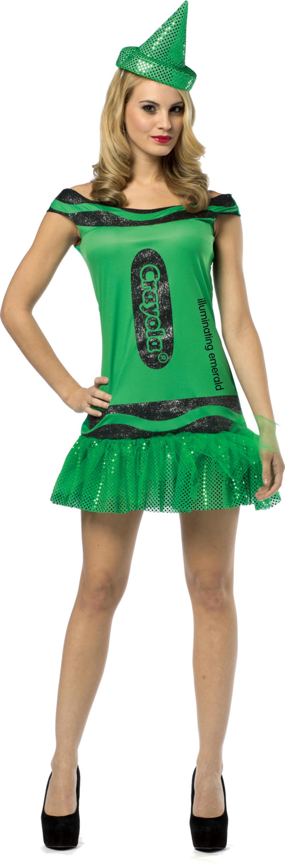 Emerald Green Crayola Glitter Dress Ladies Costume