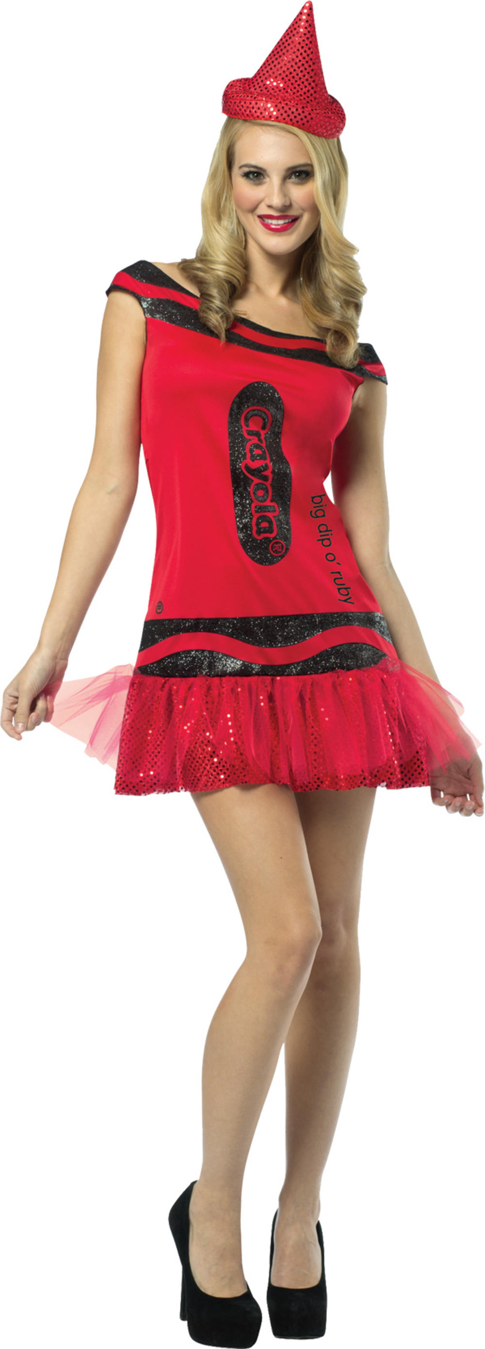 Ruby Red Crayola Glitter Dress Ladies Costume