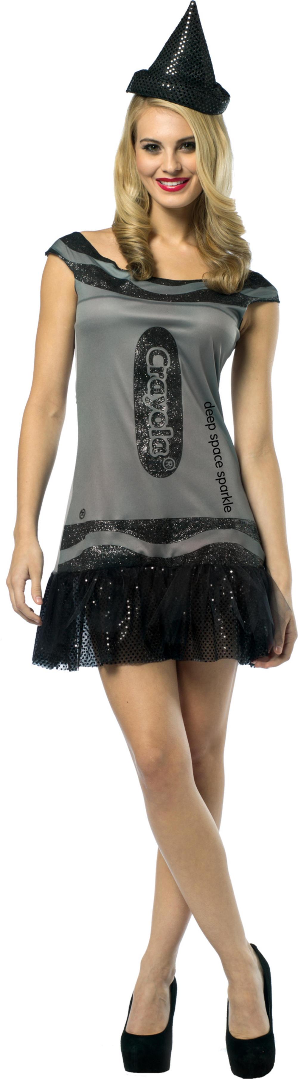 Black Sparkle Crayola Glitter Dress Ladies Costume