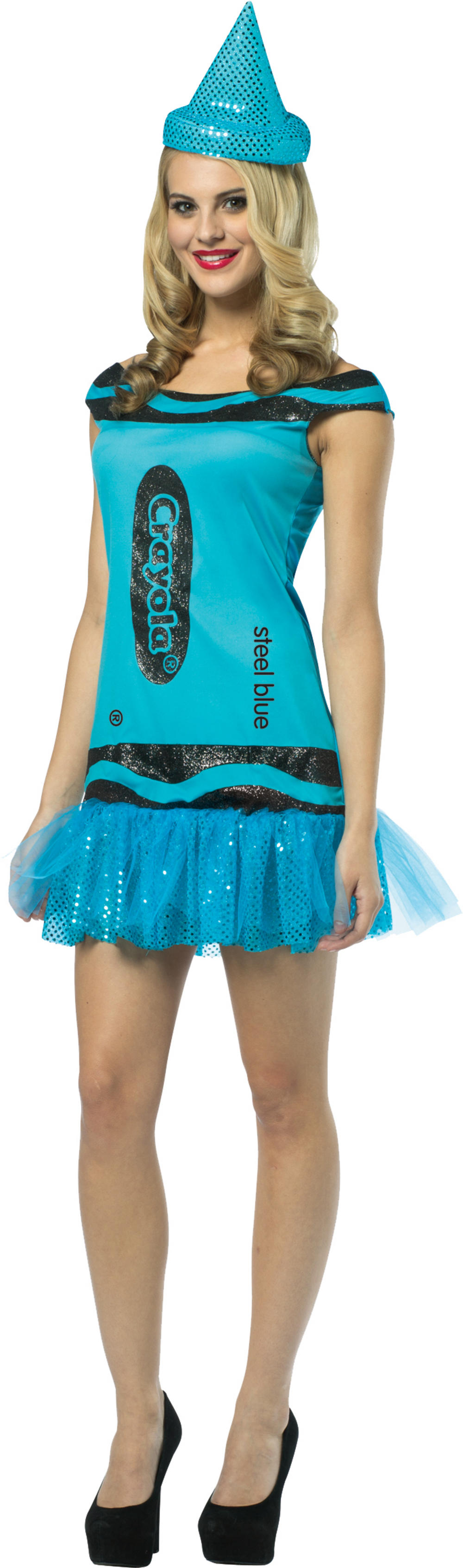 Steel Blue Crayola Glitter Dress Ladies Costume