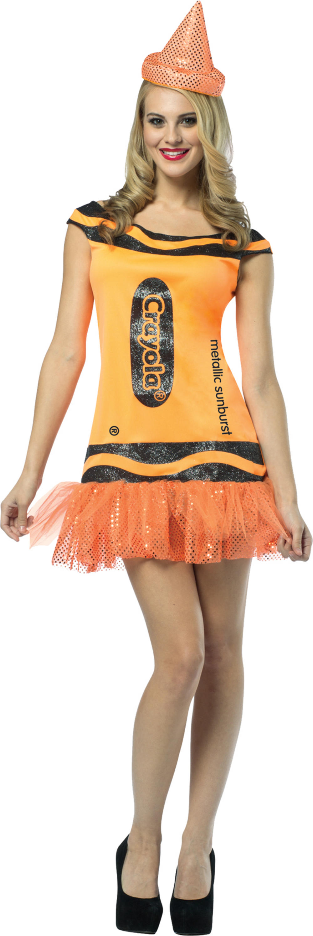 Sunburst Orange Crayola Glitter Dress Ladies Costume