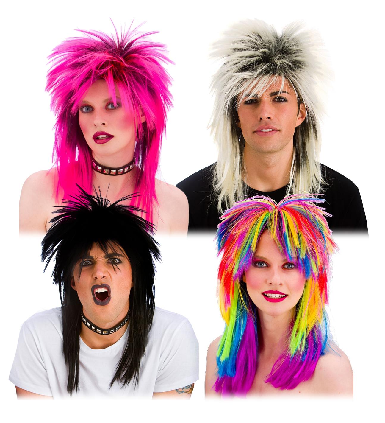 80/'s Rocker Wigs Adults Fancy Dress Rock Pop Star Mens Ladies 1980s Costume Wigs