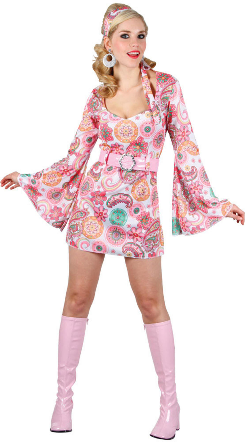 Pink Flower Retro Dancer Costume Ladies Costumes Mega 60