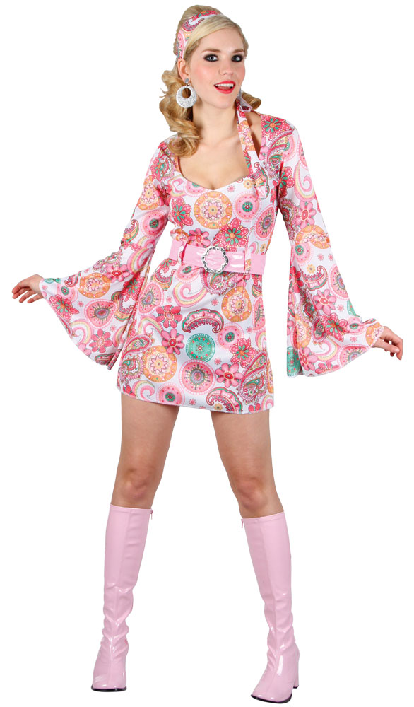 Pink Flower Retro Dancer Costume Ladies Costumes Mega 60s Dress