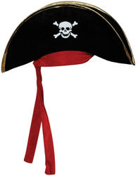 Pirate Hat with Gold Trim and Red Bandana