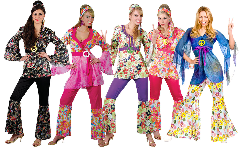 Hippy Flares /& Top 60s-70s Fancy Dress Hippie Honey Adult Ladies Costume 6-28