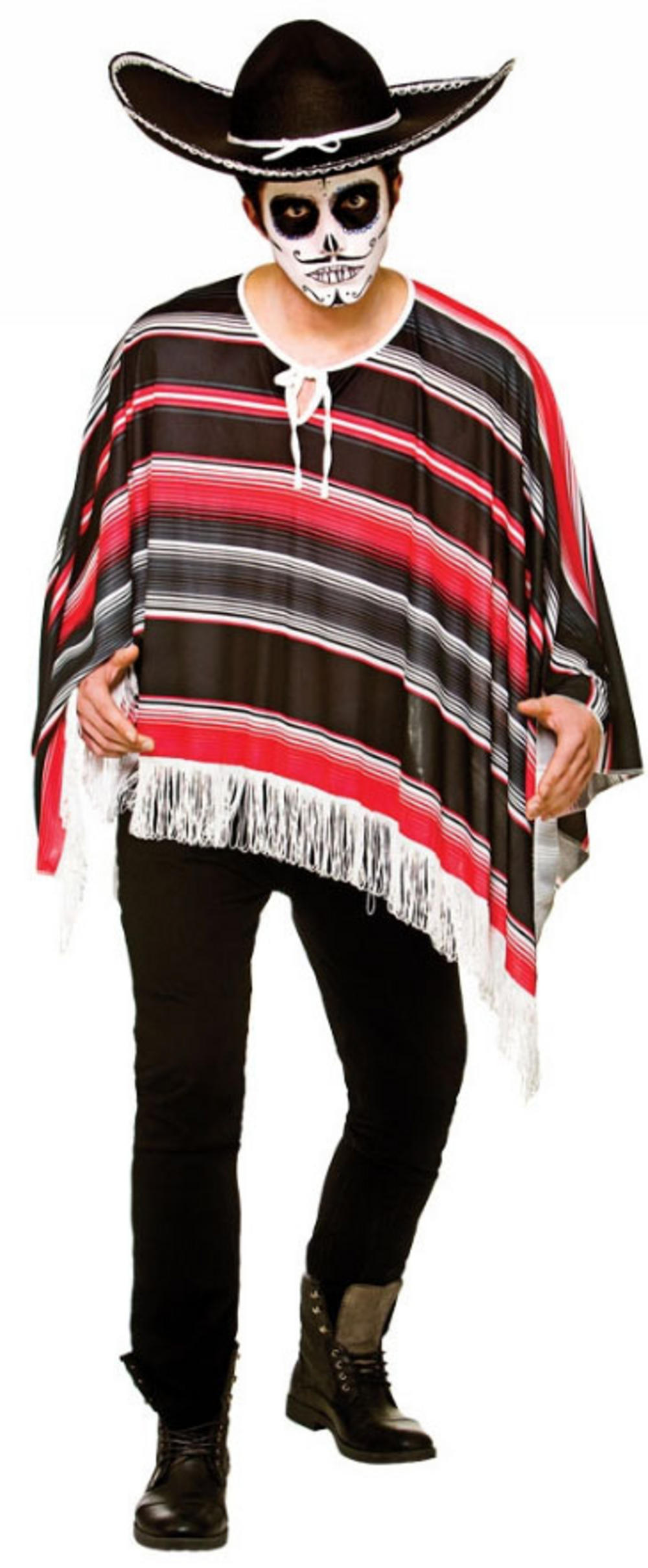 Day of the Dead Bandit Poncho Mens Costume