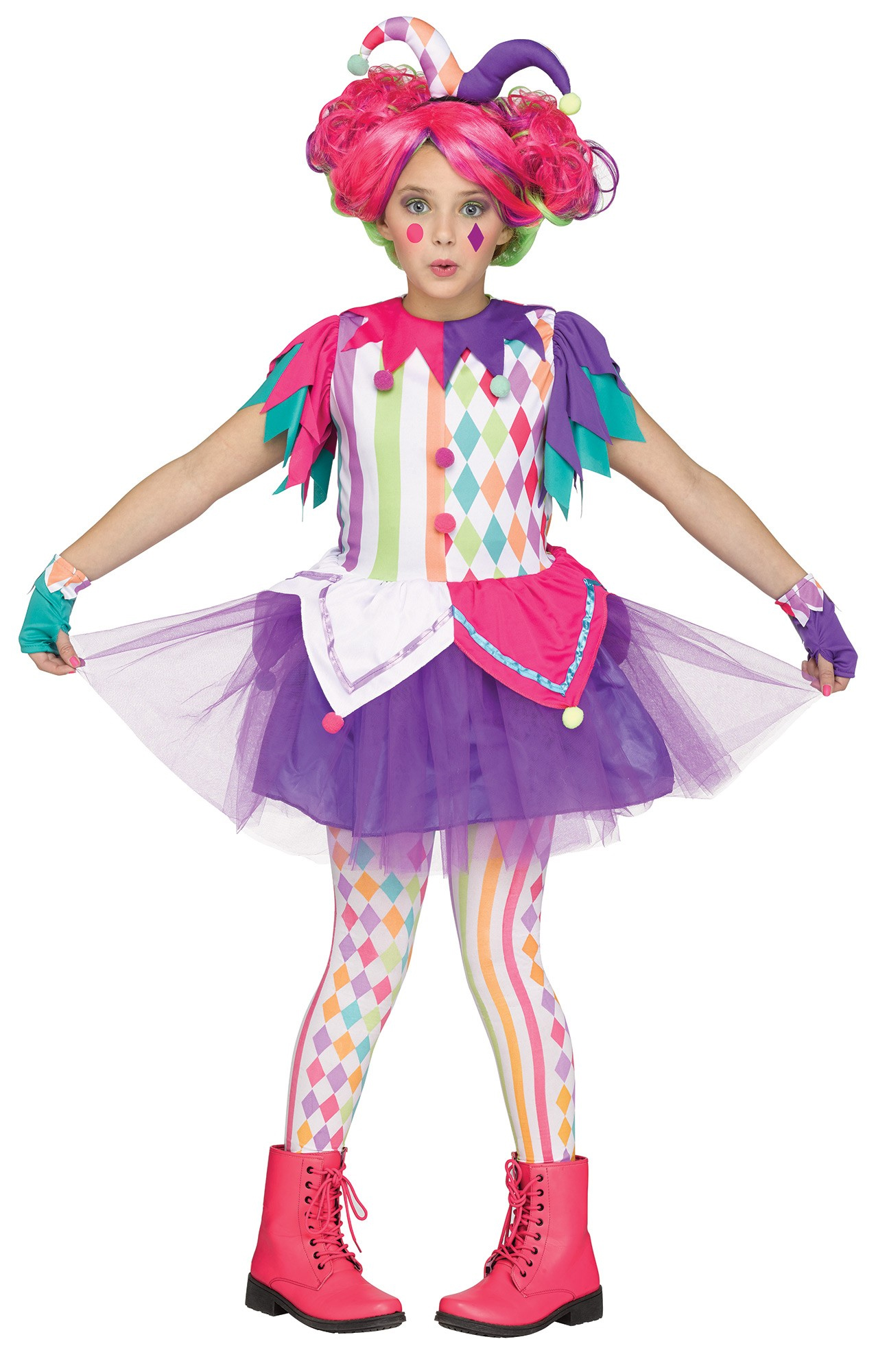 rainbow harlequin girls costume all halloween mega. Black Bedroom Furniture Sets. Home Design Ideas