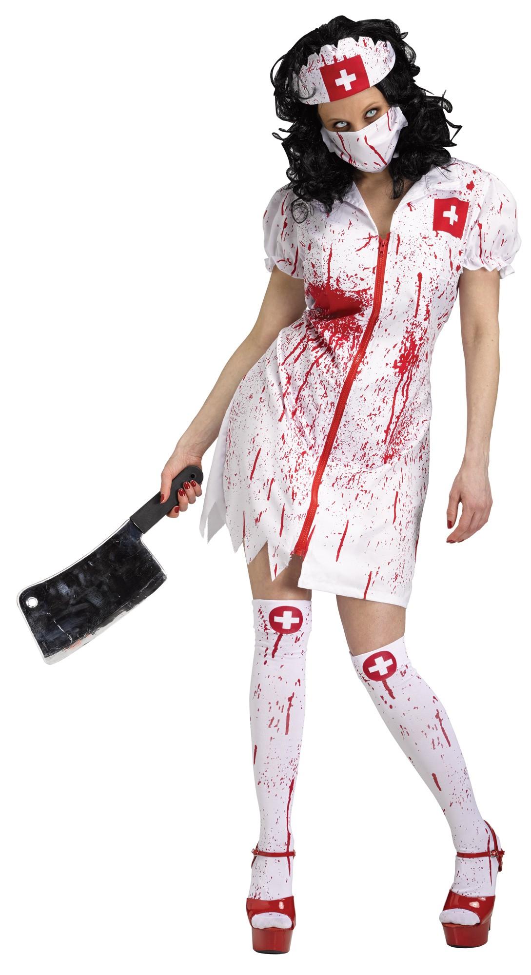 Ladies Zombie Nurse Halloween Fancy Dress Costume Outfit 16-30 Plus Size
