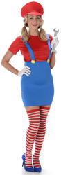 Red Plumber Girl Ladies Costume