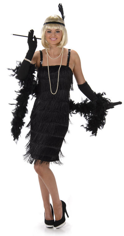 Black Flapper Ladies Costume