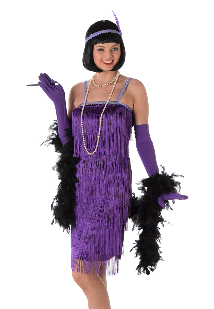 Purple Flapper Ladies Fancy Dress 20s 1920s Jazz Charleston Womens ...