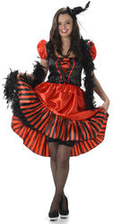 Red and Black Saloon Girl Ladies Costume
