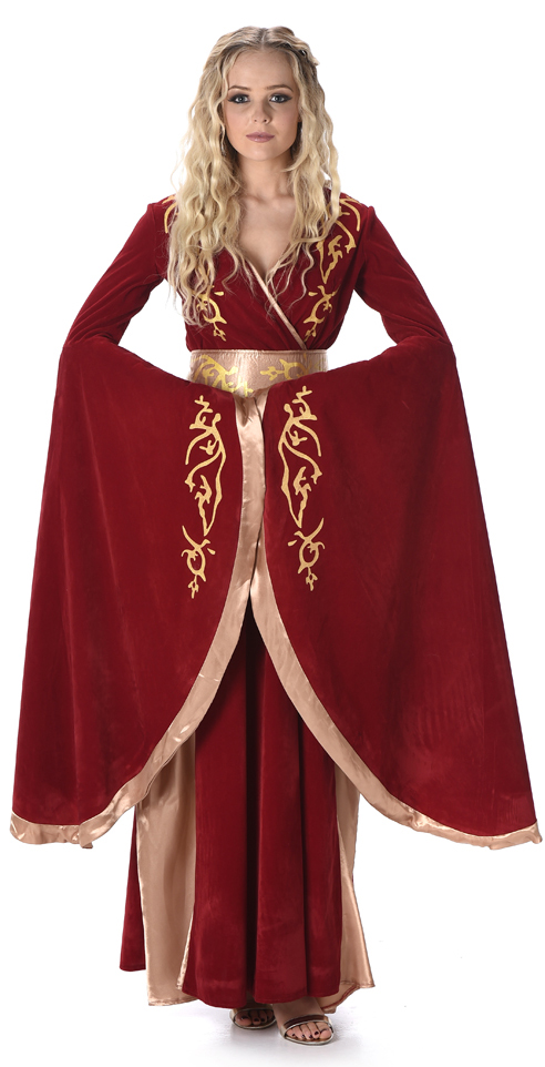 Adult Women Renaissance Princess Cersei Medieval GoT Cosplay Costume Dress Crown