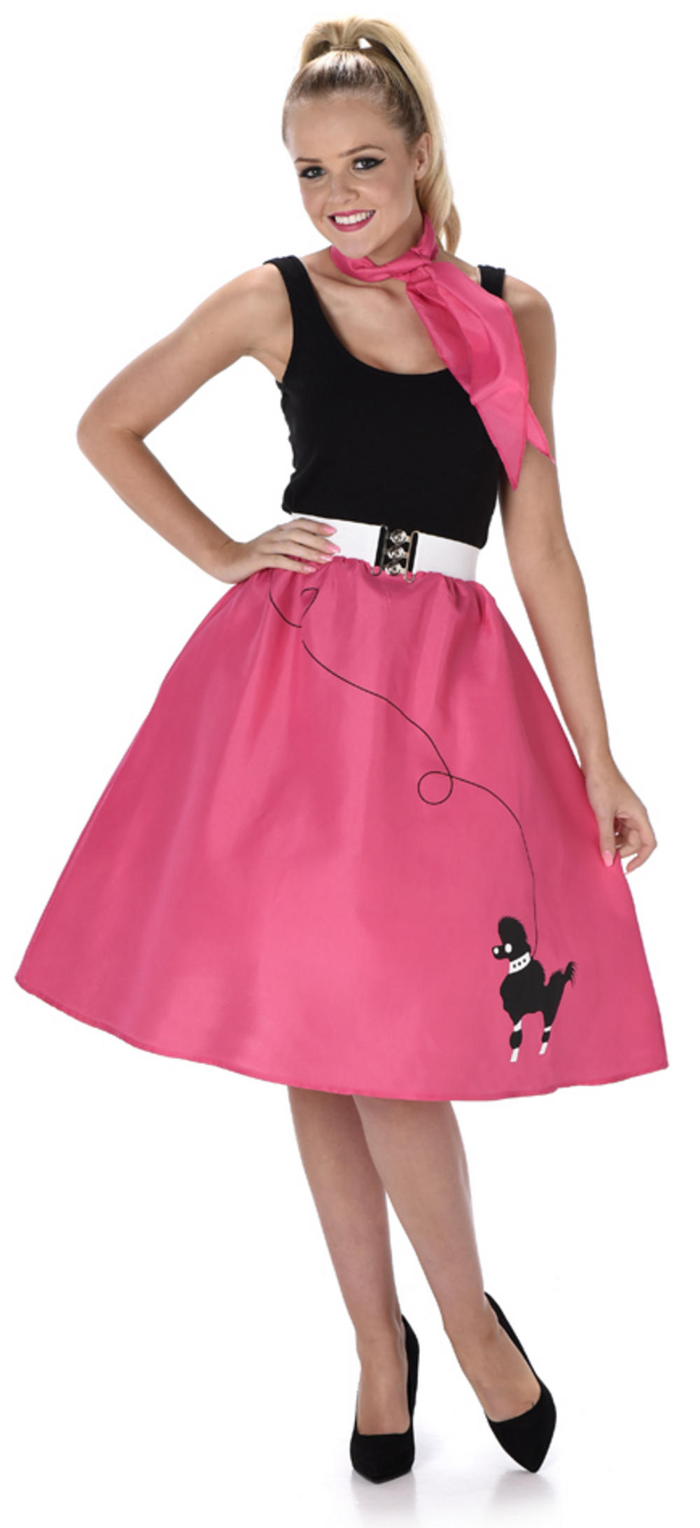 Dark Pink Poodle Skirt Ladies Costume