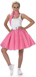 Dark Pink Polka Dot Skirt Ladies Costume