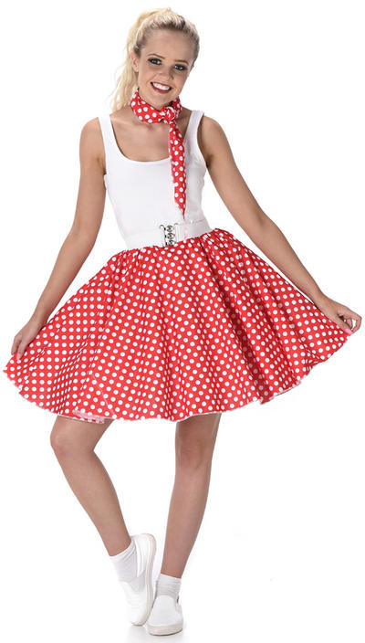Red Polka Dot Skirt Ladies Costume