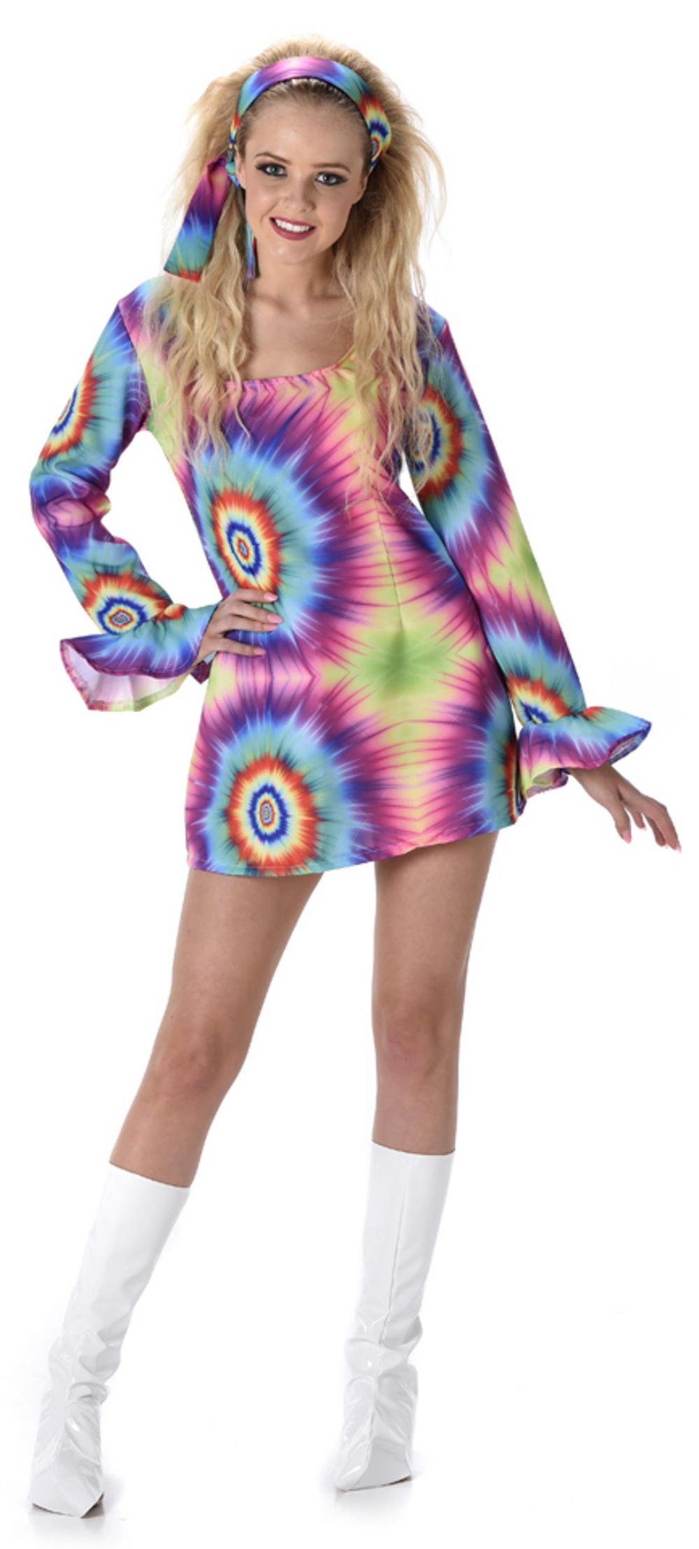 Neon Tie Dye Dress Ladies Costume