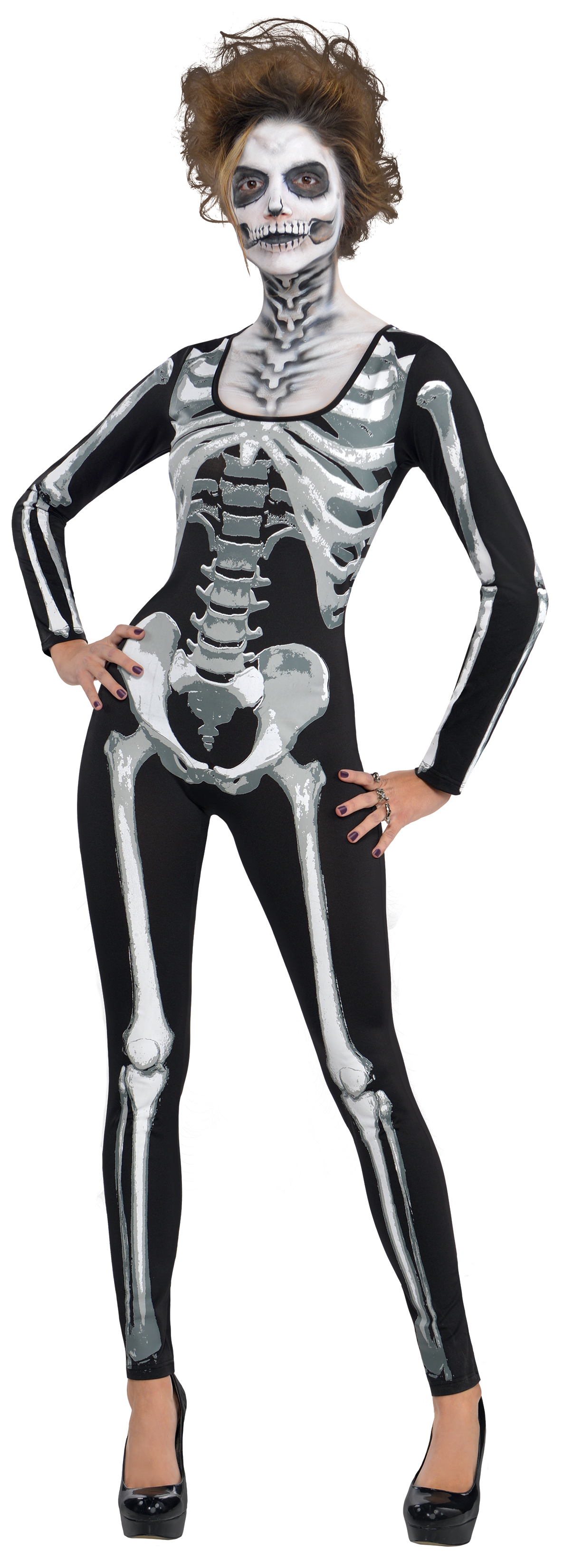 Black u0026 Bone Skeleton Cat Suit Ladies Costume  sc 1 st  Mega Fancy Dress : skeleton costumes female - Germanpascual.Com