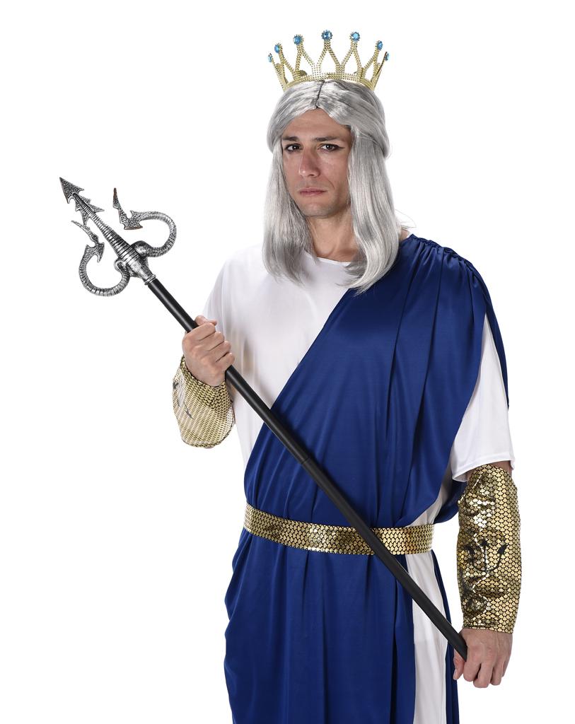 King Neptune Mens Fancy Dress Roman Greek Sea God Poseidon ... Poseidon Costume For Men