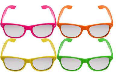 4 Neon Clear Lens Frame Glasses