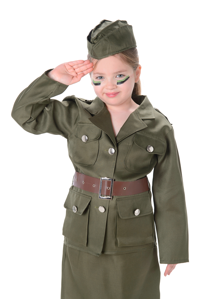 Sentinel Army Girls Military 1930s 1940s Soldier Uniform Book Day Childrens Kids Costume  sc 1 st  eBay & Army Girls Military 1930s 1940s Soldier Uniform Book Day Childrens ...
