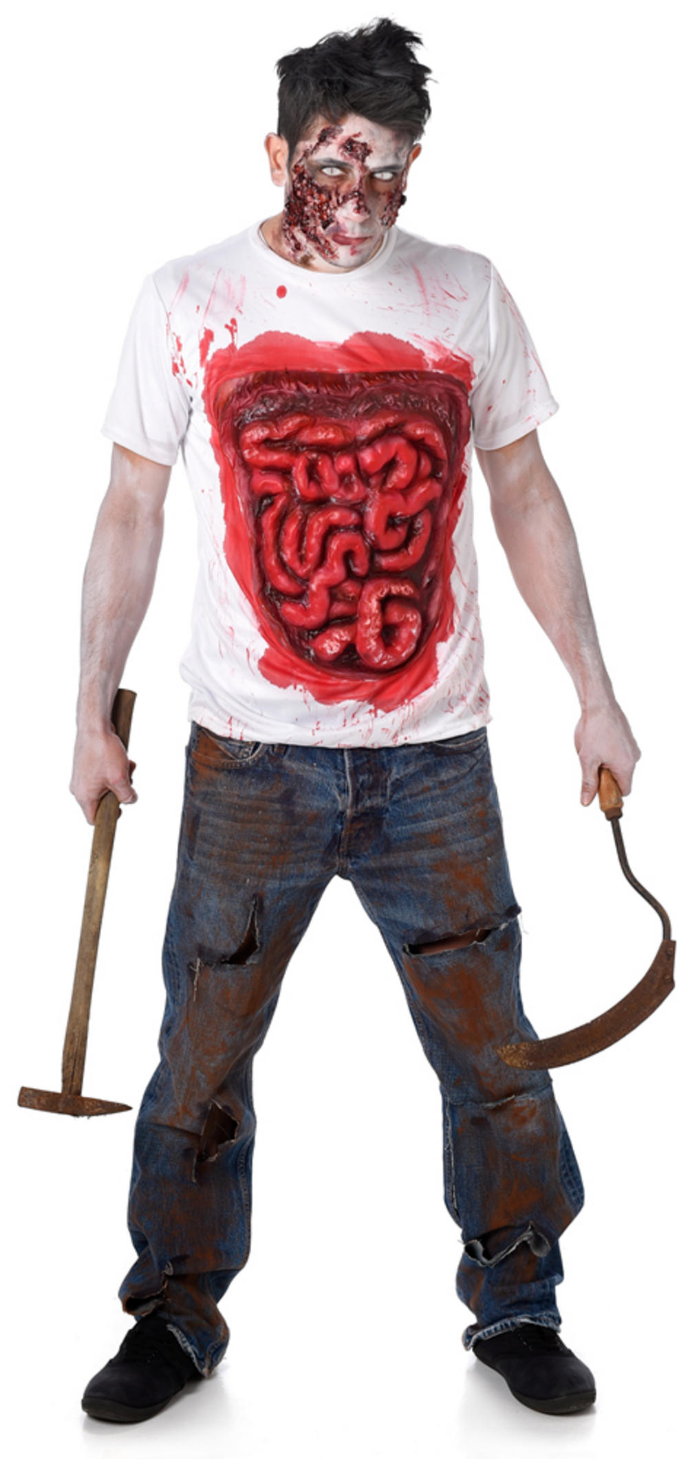 Guts Body Part Zombie Mens Costume Shirt