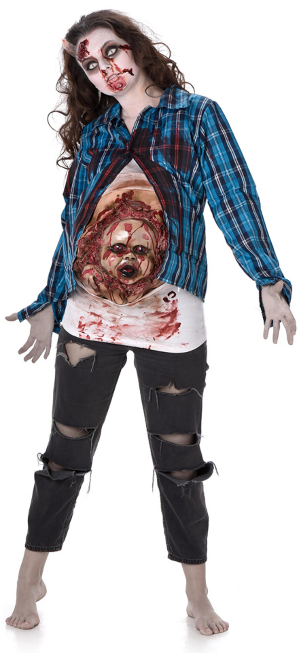 Deluxe Pregnant Zombie Baby Face Ladies Costume