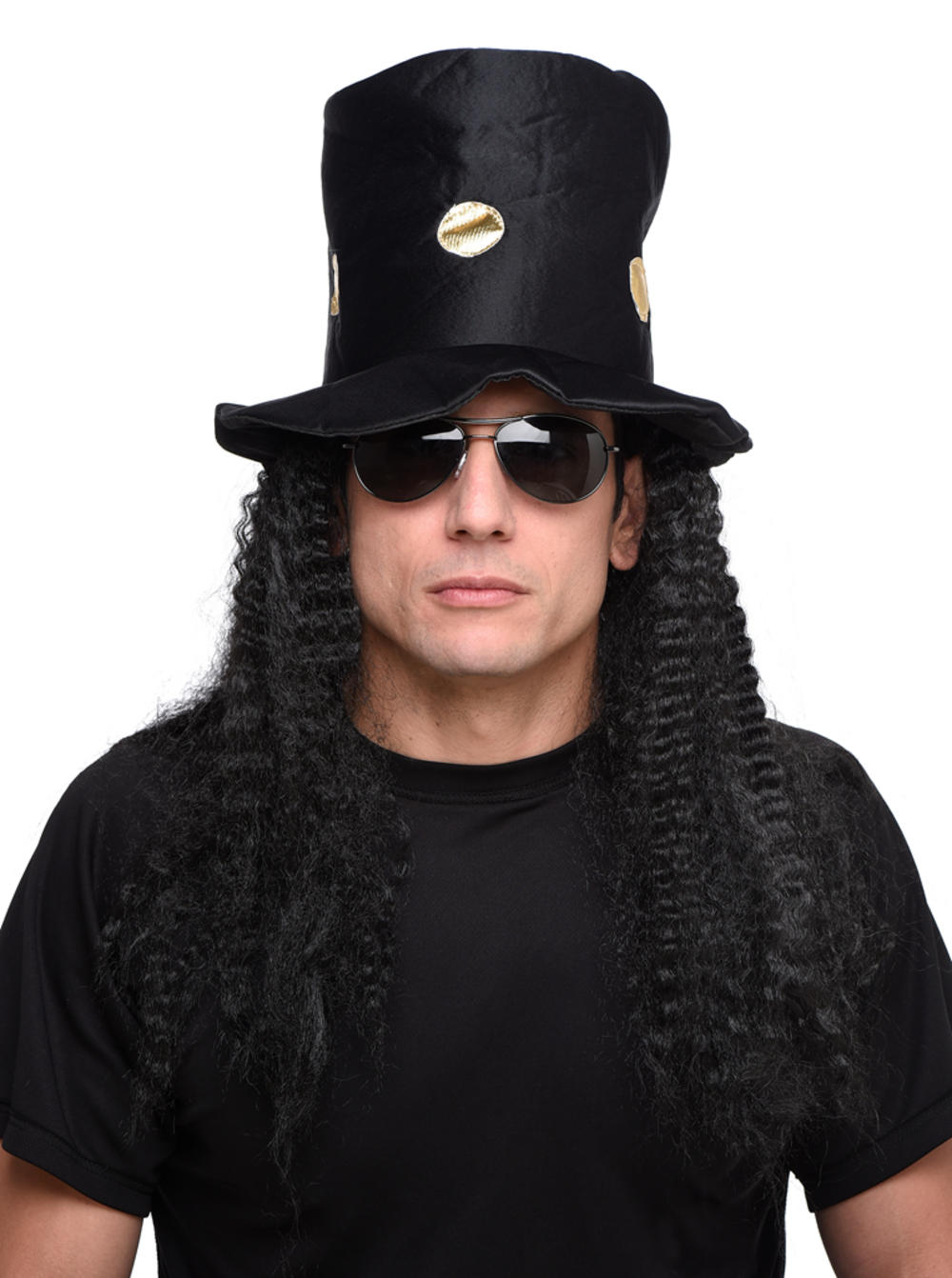 Rock Star Hat And Black Curly Adults Wig Men S Fancy