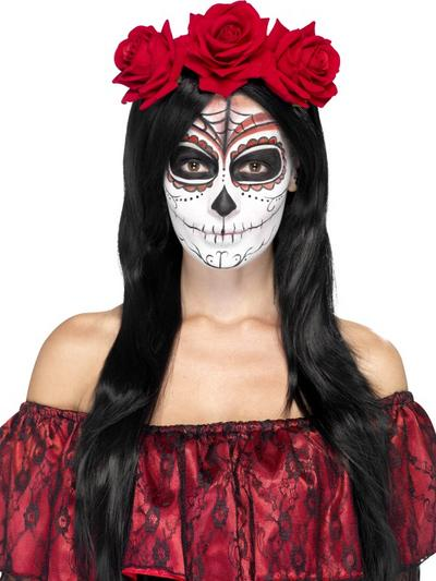 Day of the Dead Ladies Red Roses Headband