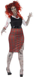 Curves Zombie School Girl Ladies Costume