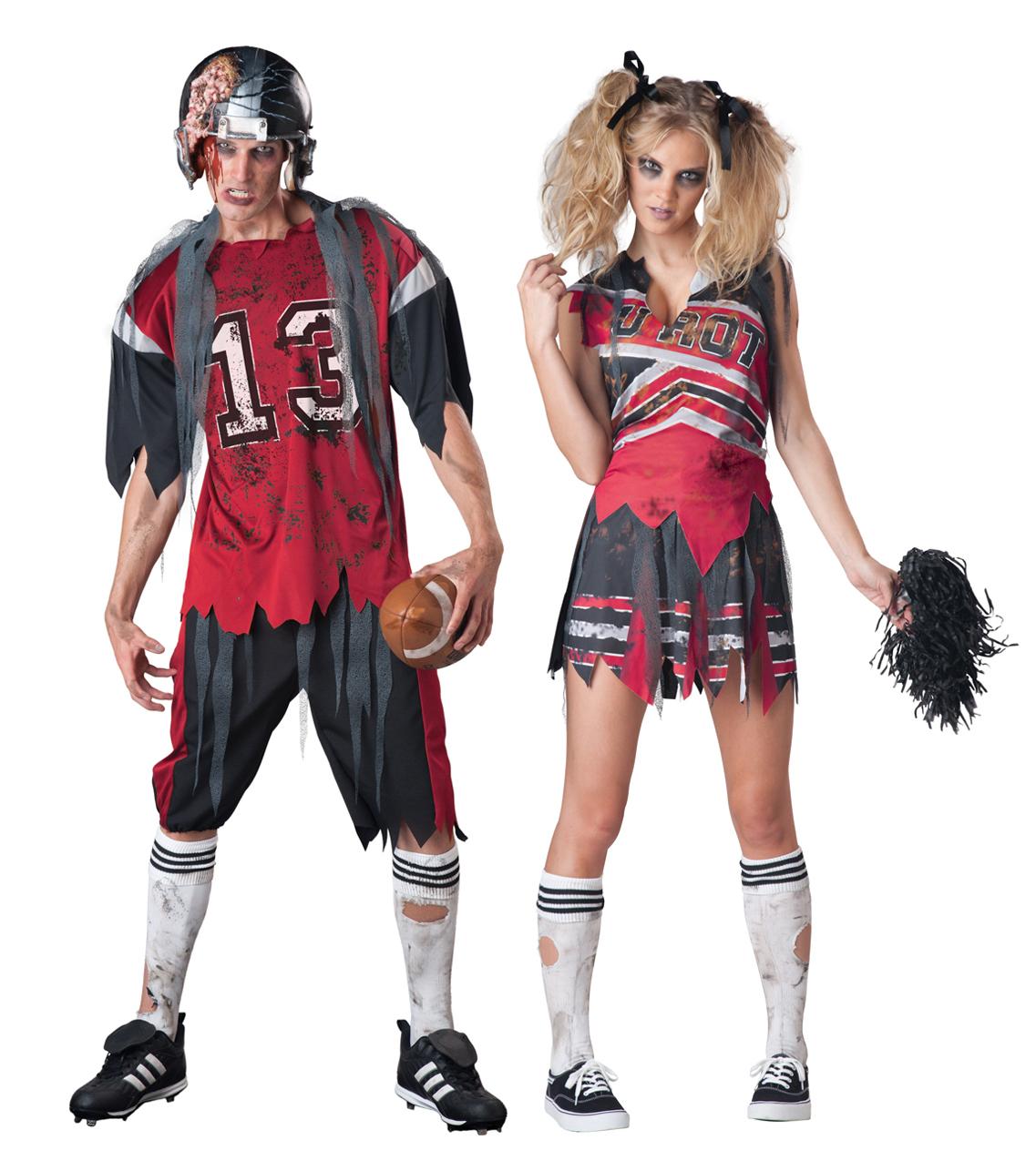 Zombie American Footballer or Cheerleader Halloween Fancy Dress  Adults Costumes