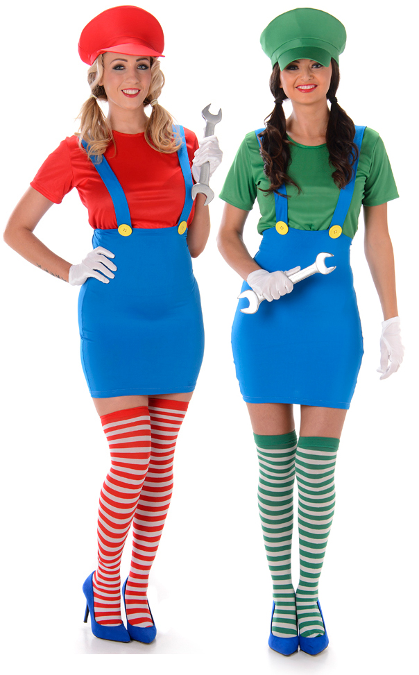 Sentinel Super Mario Luigi Plumber Ladies Fancy Dress 80s Video Game Womens Costumes New  sc 1 st  eBay & Super Mario Luigi Plumber Ladies Fancy Dress 80s Video Game Womens ...