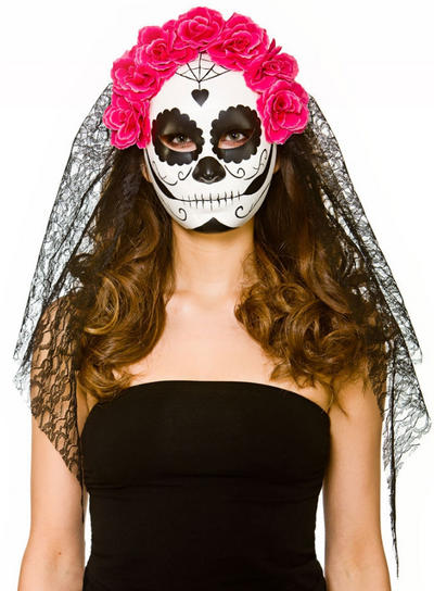 Deluxe Day of the Dead Mask with Veil