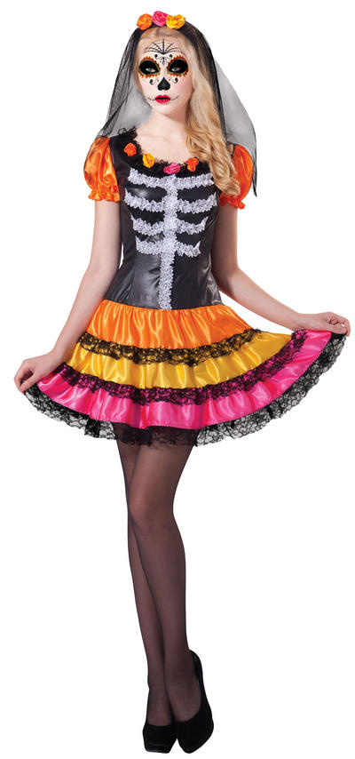 Day of the Dead Rainbow Lady Costume