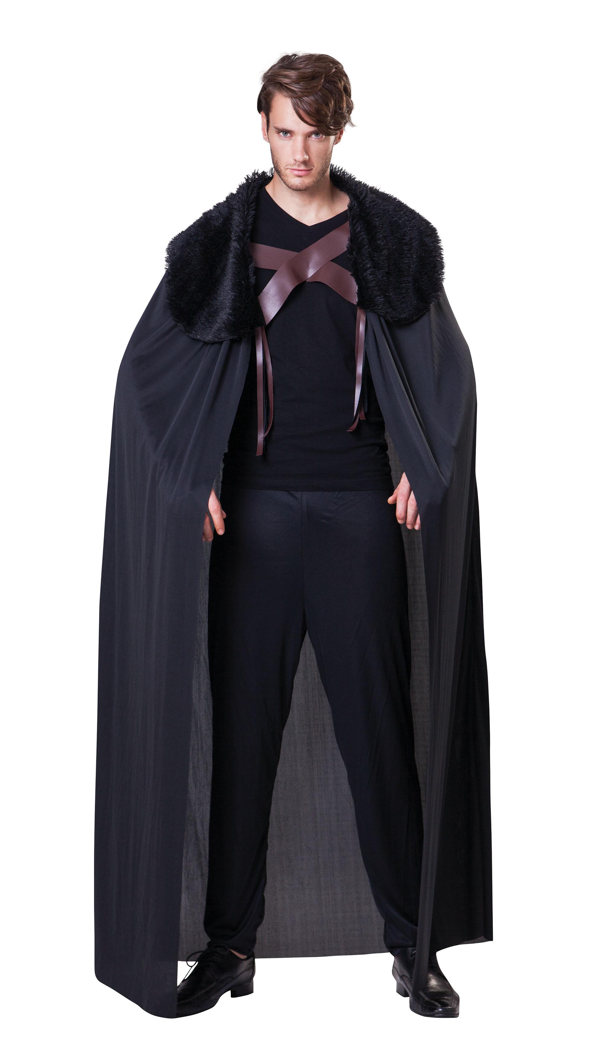 Black Cape With Fur Collar Mens Costume Accessory
