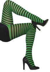 Opaque Black and Green Striped Tights