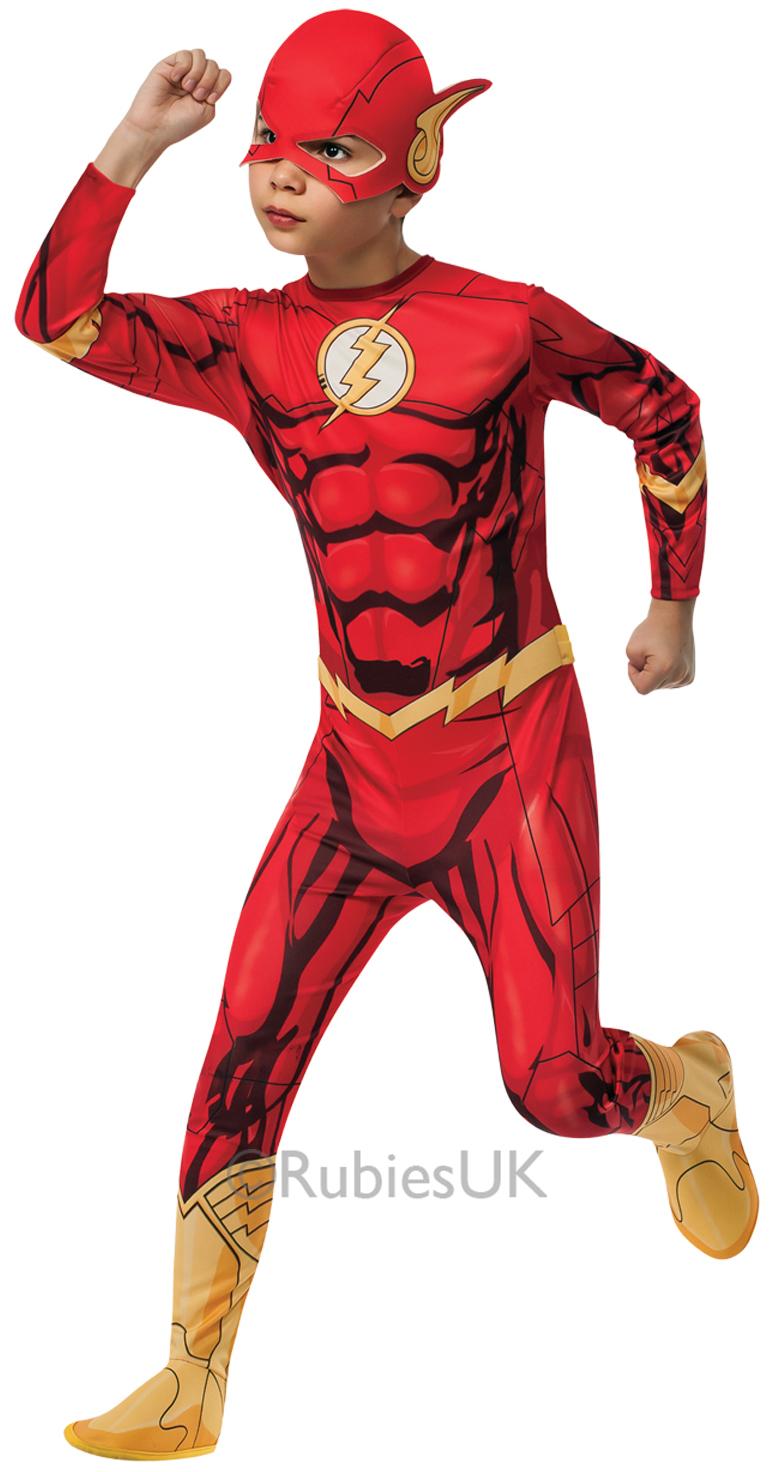 Boys DC Comics The Flash Costume Superhero Book Day Kids Fancy Dress Outfit