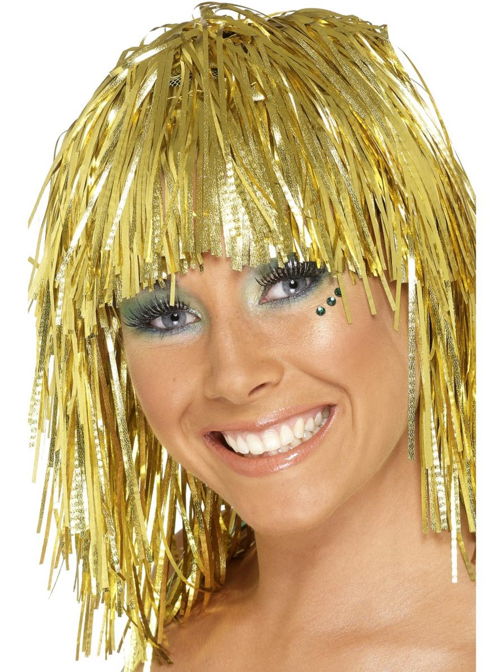 Gold Cyber Tinsel Wig Costume Accessory