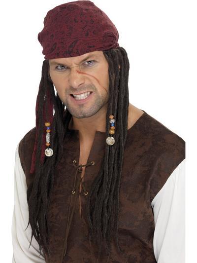 Pirate Wig & Scarf Mens Accessory