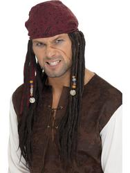 Pirate Wig & Scarf Mens Accessory