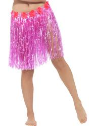 Hawaiian Hula Skirt with Flowers Pink