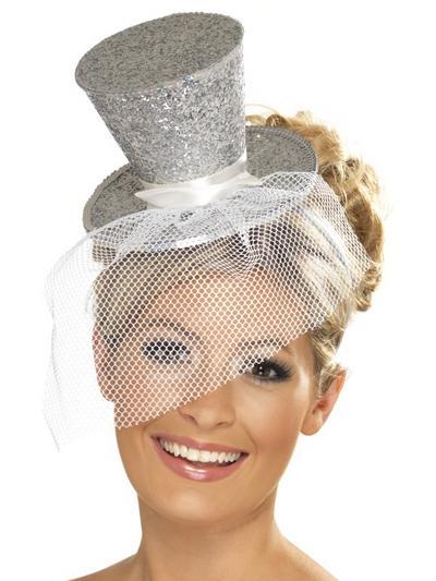 Ladies Fever Silver Mini Top Hat