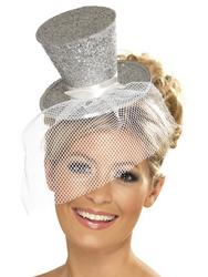 Ladies Fever Silver Mini Top Hat